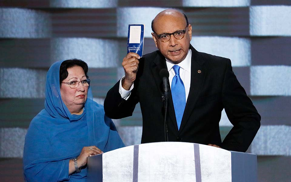 Khizr Khan and his wife Ghazala Khan qt the Democratic National Convention 2016.