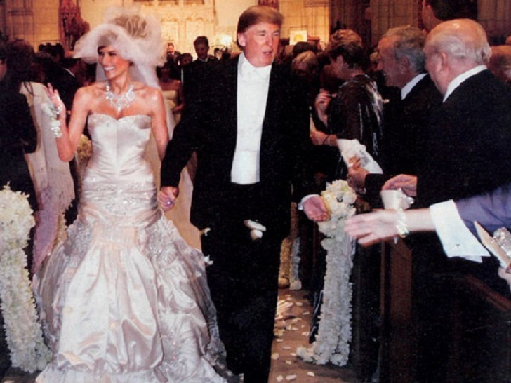 Melania Trump and Donald Trump heading down the aisle together..The Donald was dressed in a $200,000 suit which was designed by John Galliano of the house of Christian Dior.