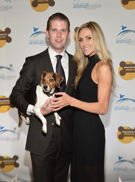 Eric Trump and Lara Yunaska Trump with their Beag;e Charlie. It's a cute dog
