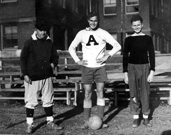 George H W bush in his college years. He loved football.