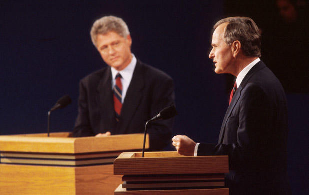 George H W Bush in debate with Democrat Bill Clinton in 42nd US presidential Debate.