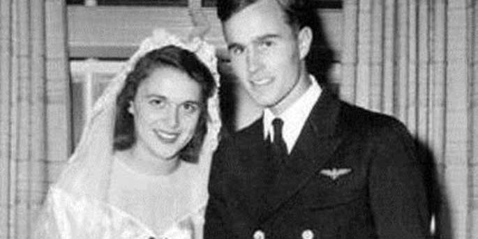 George H W Bush and Barbara Bush wedding Photo. WW II was raging at that time.