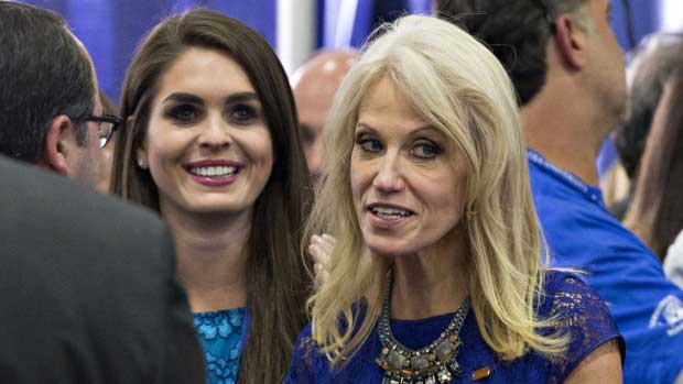 Hope Hicks with Kellyanne Conway. The two powerful women in Donald Trump's administration in White House.