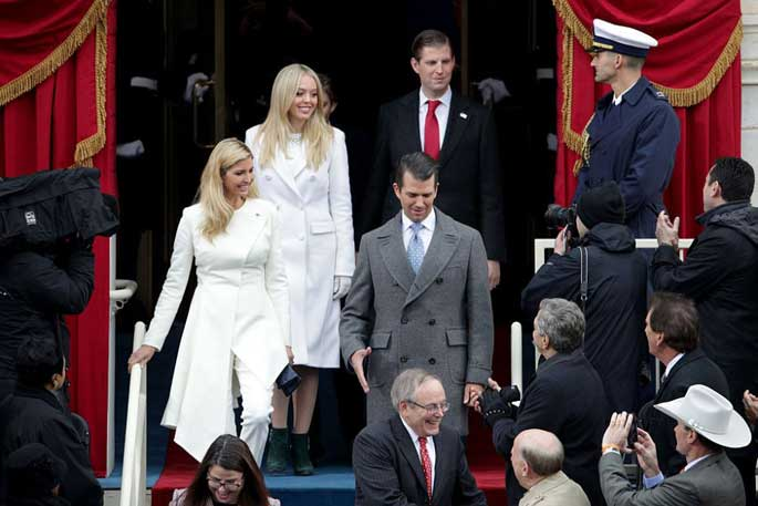 Donald Trump's Sons Eric and Don jr with his daughters Tiffany and Ivanka at his inauguration.