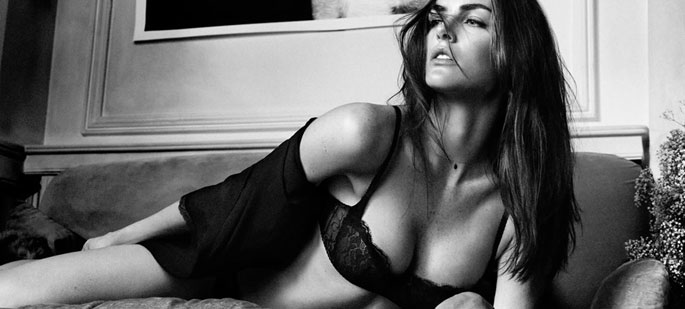 Hilary Rhoda in a photo shoot for lingerie.