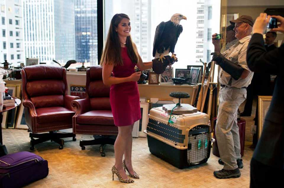Hope Hicks in White House with Uncle Sam; the Bald Eagle.