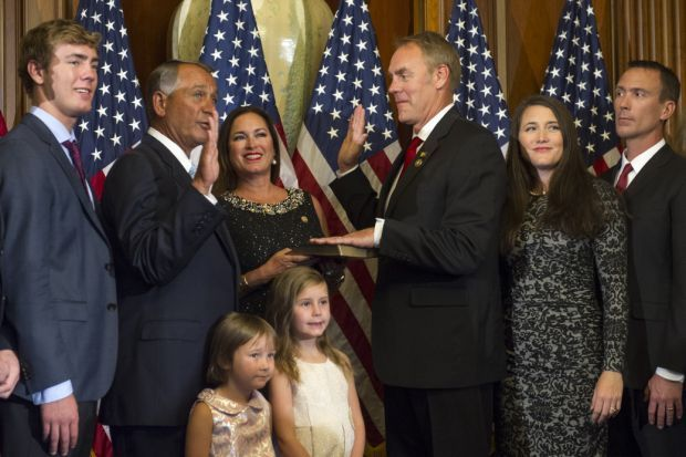 Ryan Zinke at a swearing ceremony.