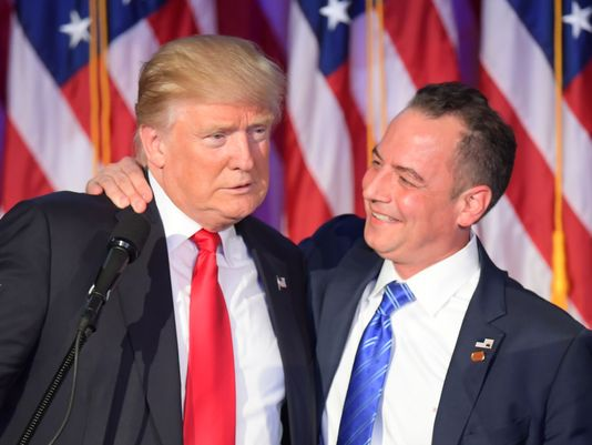 President Donald Trump with Reince Preibus after his victory.