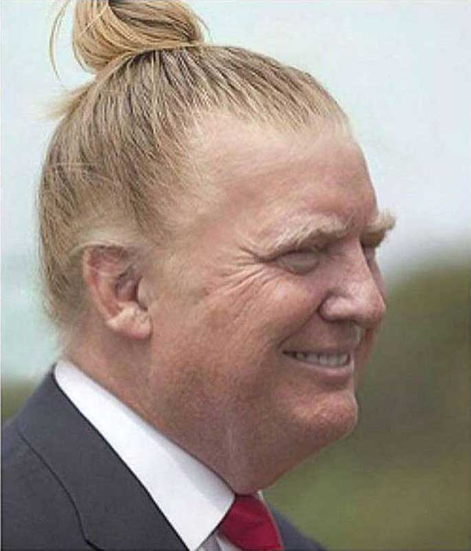 This is a photo shopped picture of Donald Trump which went viral in Reddit and Twitter.