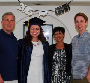 Kevin McCarthy with his wife Judy and two children.