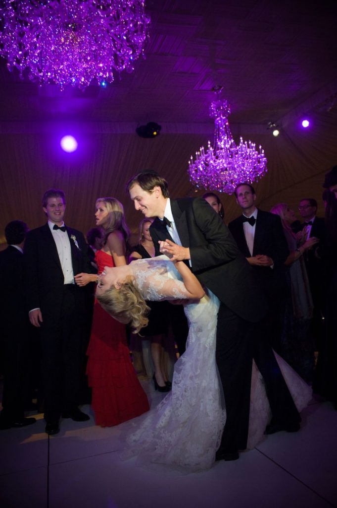 Ivanka Trump and Jared Kushner in their wedding. The couple got married after a long relationship which was once objected by Jared's parents.