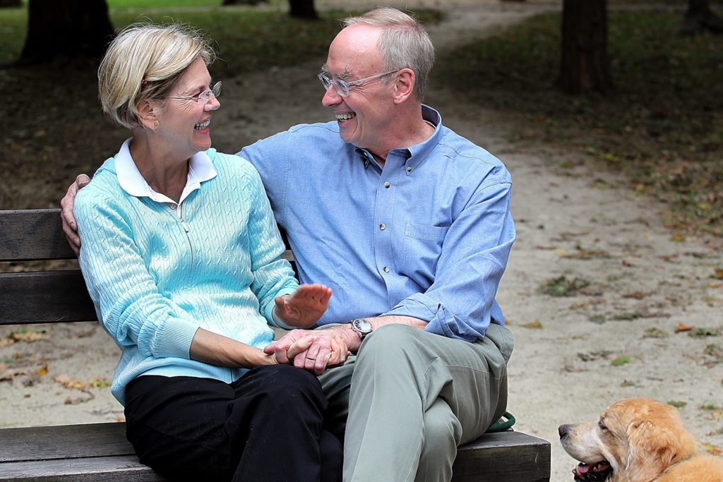 Elizabeth Warren with her husband Bruce Mann.