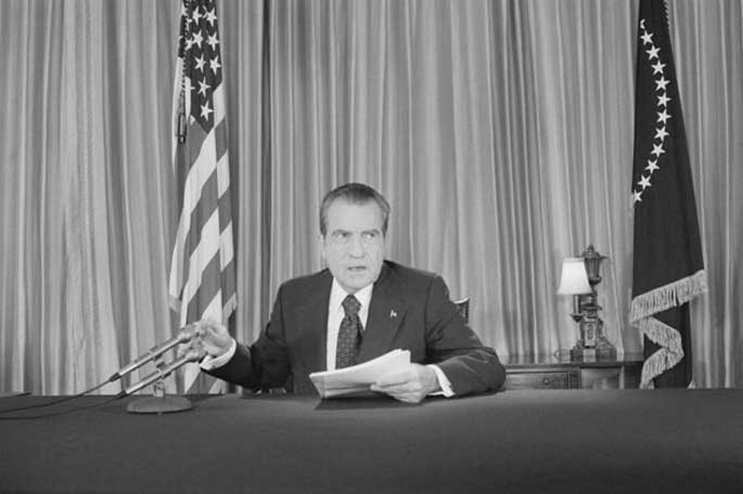 President Nixon during the Watergate scandal.