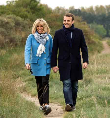 President Emmanuel Macron with his wife Brigitte Trogneux.